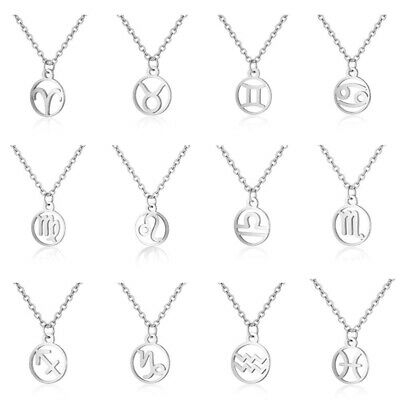 Round Hollow Constellation Zodiac Pendant Chain Necklace Stainless Steel Jewelry • 3.59£