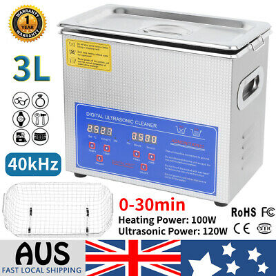 AU112.99 • Buy 3L Digital Ultrasonic Cleaner Stainless Steel Jewellery Cleaning Heated W/ Timer