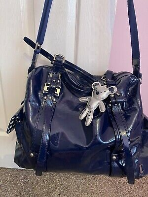 Il Tutto Navy Leather Tote Eliza Patent Designer Baby Changing Bag + Change Mat • 35£