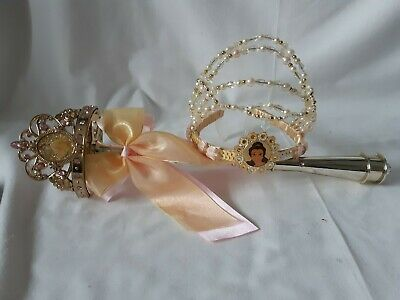 Disney Princess Belle  Tiara Crown And Light Up Wand  Beauty And  The  Beast  • 12£