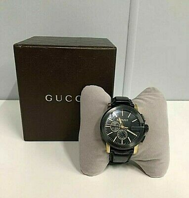 AU649 • Buy Mens Gucci Black Leather G-Crono Watch, 44mm -  101.2 - Black And Gold