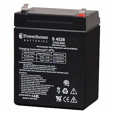 AU26.95 • Buy Powerhouse 12V 2.9Ah Sealed Lead Acid (SLA) Battery 4.8mm/F1
