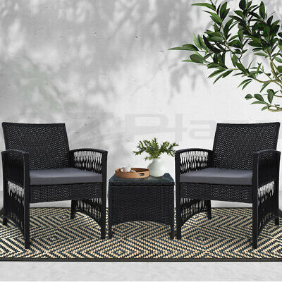 AU209.90 • Buy Gardeon Patio Furniture Outdoor Bistro Set Dining Chairs Setting 3 Piece Wicker