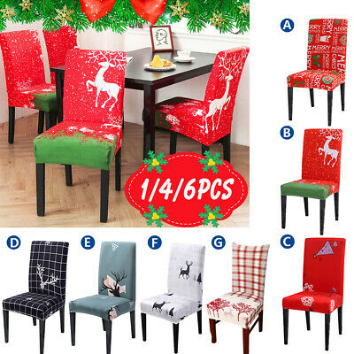 Christmas Dining Chair Seat Covers Slip Stretch Santa Claus Banquet Party Decor • 12.99£