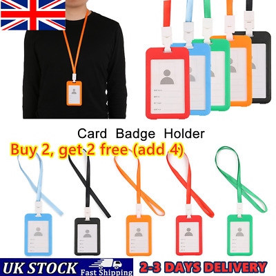 Pocket Bus Credit ID Card Badge Tag Holder Pass Case With Neck Strap Lanyard 'UK • 2.56£