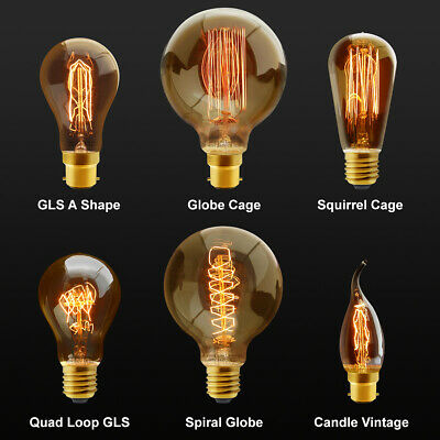 £5.99 • Buy B22 Bayonet Or E27 Edison Vintage Light Bulbs Filament Style Squirrel Cage