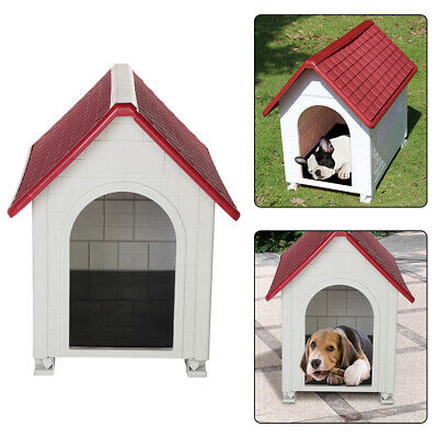 Plastic Dog Kennel Pet Cat House Weatherproof Indoor Outdoor Animal Shelter Red • 40.99£