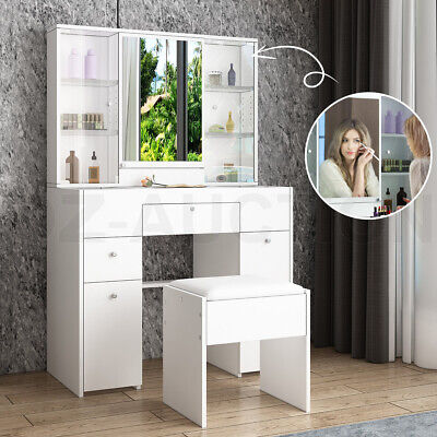 AU259.95 • Buy Dressing Table Stool Set Mirror Makeup Vanity Jewellery Table With Drawers White
