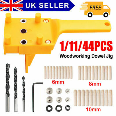£11.49 • Buy 44PCS Woodworking Guide Doweling Jig Drill Kit Wood Dowel Drill Hole Tool