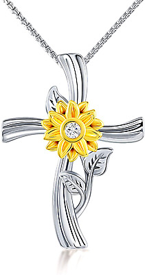 Sunflower Cross Pendant Necklace For Women Girls Mom Wife -You Are My Sunshine … • 28.41£