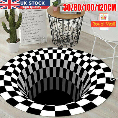 3D Printed Round Vortex Illusion Pattern Anti-slip Carpet Floor Mat Door Mat UK • 9.99£