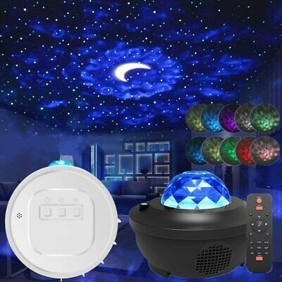 Galaxy Star Moon Cloud Projector Music Night Light Starry Ocean Wave Lamp Remote • 19.99£