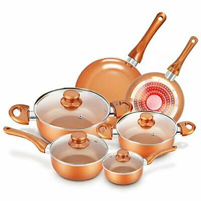 $111.80 • Buy KUTIME 10pcs Cookware Set Non-stick Frying Pan Ceramic Coating,with Lid- NEW