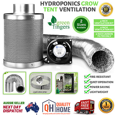 AU178.32 • Buy Hydroponics Grow Tent Ventilation Kit Vent Fan Carbon Filter Duct 6 Inch 4 Inch