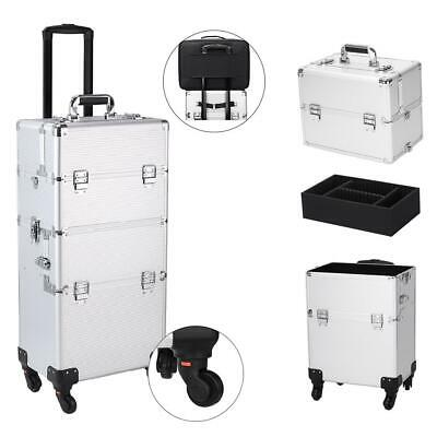 $64.99 • Buy Large Pro 3 In1 Travel Salon Makeup Train Cases Rolling Trolley Organizer US