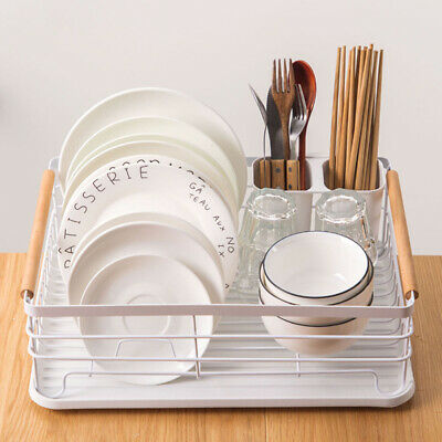 White Dish Rack Drainer With Drip Tray With Cutlery Holder Kithen Sink Storage • 16.95£
