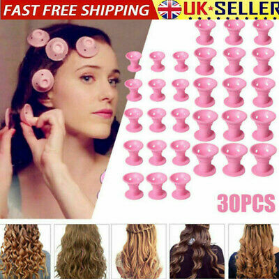 30PCS Magic Silicone Hair Curler Rollers No Clip Former Styling Curling DIY Tool • 8.28£