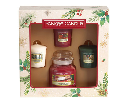 Yankee Candle Magical Christmas Morning Small Jar And 3 Votive Candles Set. • 10.99£