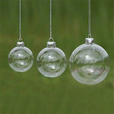 Clear Plastic Acrylic Craft Ball Sphere Baubles For Christmas Wedding Decor-5PCS • 5.69£