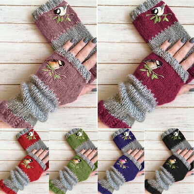 AU6.54 • Buy Retro Women Birds Embroidery Gloves Knitted Fingerless Mittens Gloves Winter