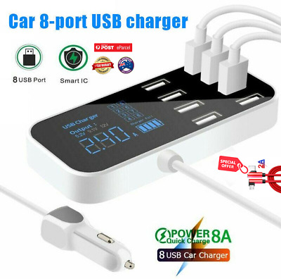 AU31.45 • Buy Car Charger 8-Port USB Fast Charging LCD Display Adapter USB Hub For Phone/ipad