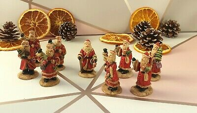 9x Vintage 2  Clay Santa Figurines Detailed Handpainted Christmas Mantelpiece... • 25.99£