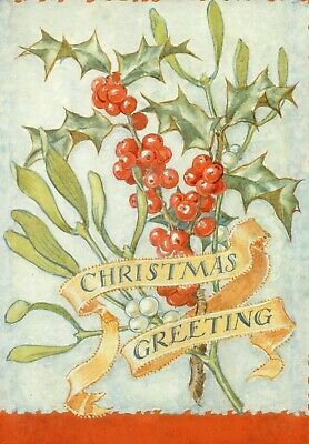 Margaret Tarrant Sprig Of Holly & Mistletoe Medici Christmas Greeting Card  • 1.75£