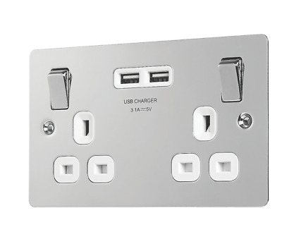Lap 13a 2-gang Sp Switched Socket + 3.1a 2-outlet Usb Charger Polished Chrome Wi • 12.23£