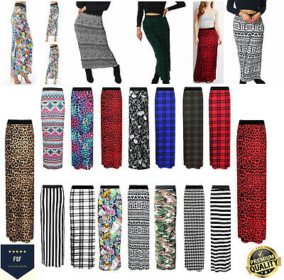 Womens Ladies Printed Jersey Maxi Long Gypsy Skirt Stretchy Skirt Plus Size 8-26 • 6.99£