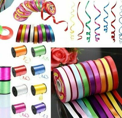 Curling Ribbon Disc Rolls Reels 5mm / 1cm Widths Double Sided 55 Metres Balloon • 1.99£