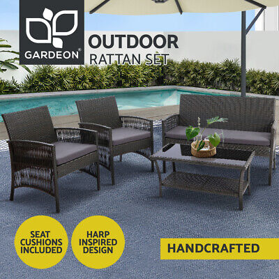 AU399.95 • Buy Gardeon Garden Furniture Outdoor Setting Rattan Chair Table Wicker Patio Grey