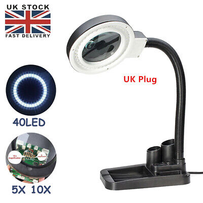 £14.89 • Buy 5x/10x Magnifier Magnifying Glass Light Desk Lamp With 40 LED Lights Salon Nail