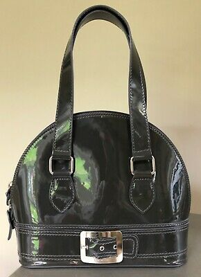 Russell And Bromley Grey Patent Leather Buckle Hand Bag Excellent Condition • 45£