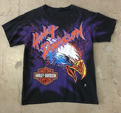 $ CDN124.13 • Buy Vintage 1995 HARLEY DAVIDSON All Over Print T SHIRT Large 90s