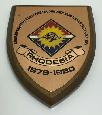 Vtg Wooden Regimental Mess Shield/plaque-rhodesia Ceasefire- 1979-1980 - Africa • 19.50£
