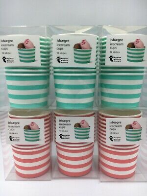 60 X Paper Ice Cream Cups Red Striped Dessert Tubs Disposable Paper Green Red • 7.50£
