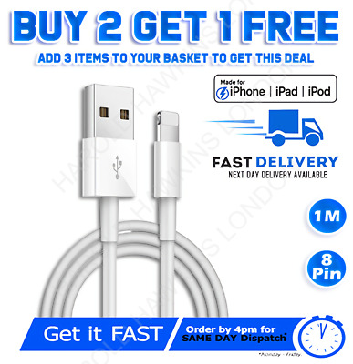 £2.89 • Buy Genuine IPhone Charger Fast For Apple Long Cable USB Lead 12 11 5 6 7 8 X XS XR