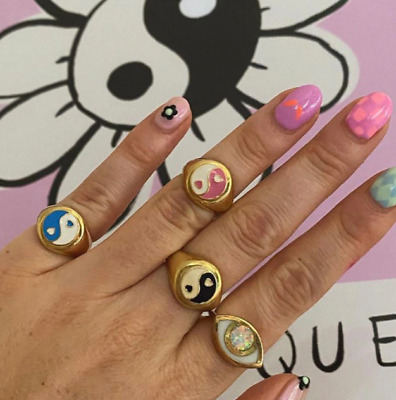 Yin & Yang Ring Love Heart Statement Kawaii Accessory Goth Lucky Hand Jewelry • 16.51£