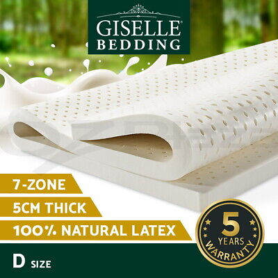 AU149.90 • Buy Giselle Latex Mattress Topper Double Natural Pad Bed Mat Underlay 7 Zone 5cm
