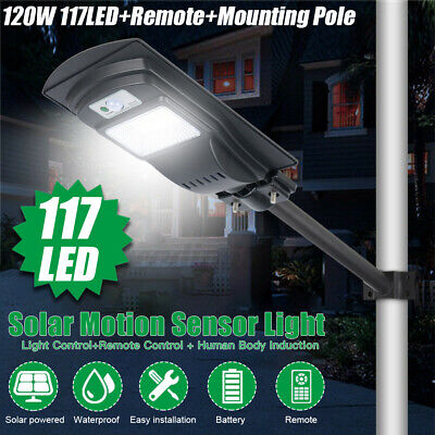 500W-2500W Solar Wall Street Light PIR Motion Garden Road Lamp Remote+50cm Pole • 64.99£