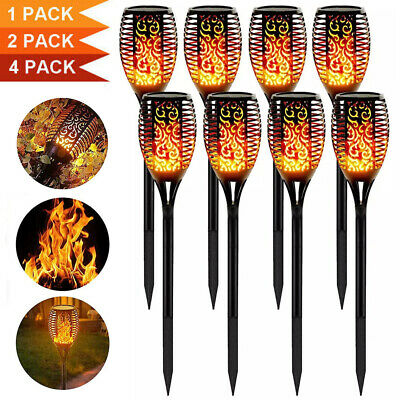4PCS Solar Garden Flame Light Flickering LED Torch Lamp Waterproof Outdoor UK • 16.99£
