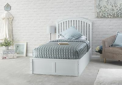 Madrid White 3ft Single Wood Ottoman Bed Gas Lift Up Storage Graded Return 2 • 245£
