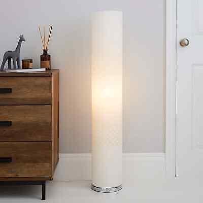 White Floor Lamp Tall Cylinder Shape Contemporary Modern NEW 112 Cm High • 44.94£