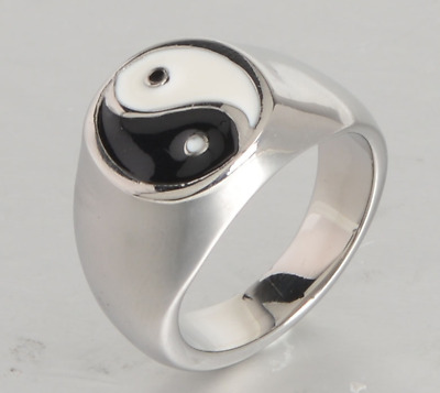 Yin & Yang Gold Silver Ring Punk Accessory Gothic Balanced Dualism Jewelry • 15.37£