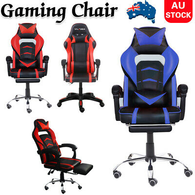 AU136 • Buy Gaming Office Chair Racing Executive Footrest Computer Seat PU Leather Backrest