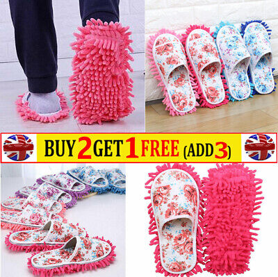1 Pair Microfiber Dust Mop Slippers Lazy Quick Floor Polishing Cleaning Shoes • 6.98£