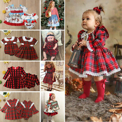 Christmas Toddler Baby Girl Sister Matching Clothes Jumpsuit Romper Dress Outfit • 6.95£