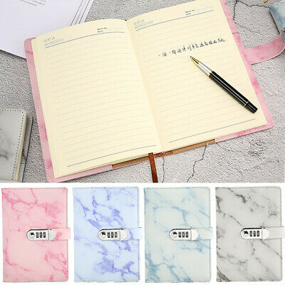 Marbled PU Leather Journal Wired Diary Lockable NoteBook With Password Code Lock • 12.99£