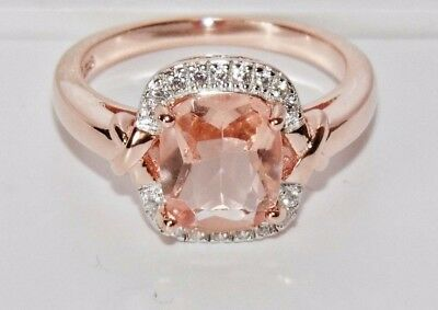 £25 • Buy 9ct Rose Gold On Silver Morganite & Diamond Cocktail Ring Size P