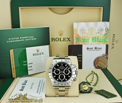 $ CDN37827.51 • Buy ROLEX Mens Stainless Steel DAYTONA Black Index Box Card Papers 116520 SANT BLANC
